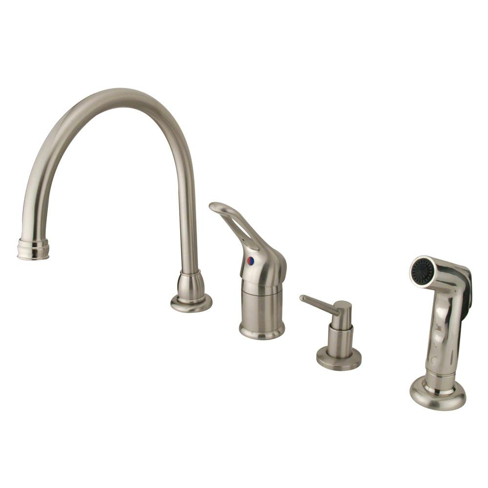 Satin Nickel Single Handle Kitchen Faucet w Soap Dispenser & spray KB818K8