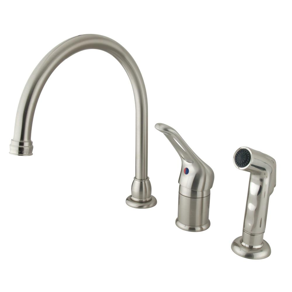 Kingston Satin Nickel Single Loop Handle Kitchen Faucet with Side Sprayer KB818