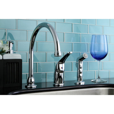 Kingston Brass Chrome Single Handle Kitchen Faucet with Side Sprayer KB821