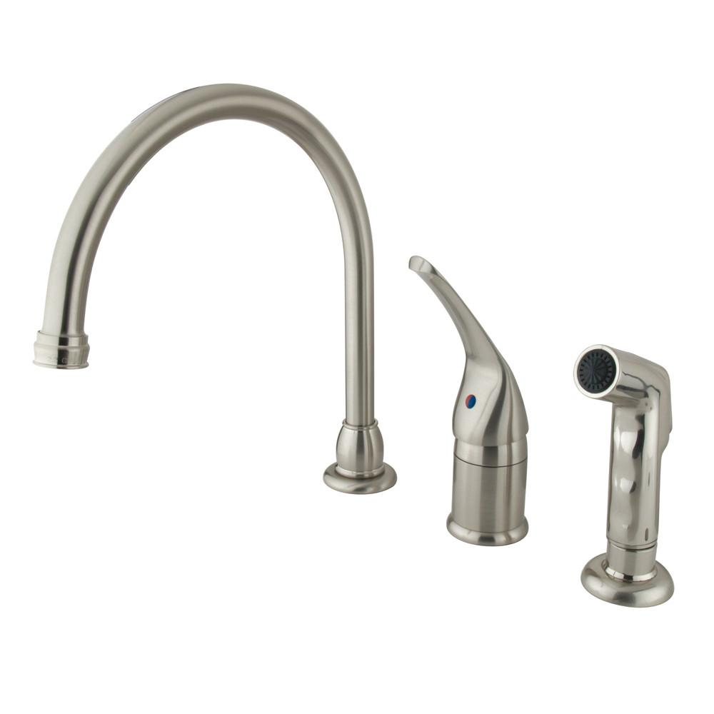 Kingston Brass Satin Nickel Widespread Kitchen Faucet w Brass Sprayer KB828