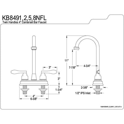 "Kingston Brass Chrome NuWave French 4"" centerset bar faucet KB8491NFL"