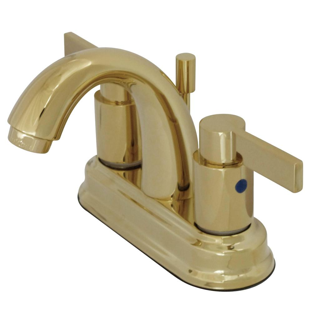 "Polished Brass NuvoFusion 4"" Centerset Hi Rise bathroom Faucet w/PopUp KB8612NDL"