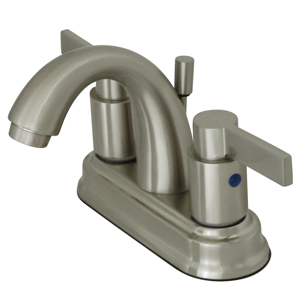 "Satin Nickel NuvoFusion 4"" Centerset Hi-Rise bathroom Faucet w drain KB8618NDL"