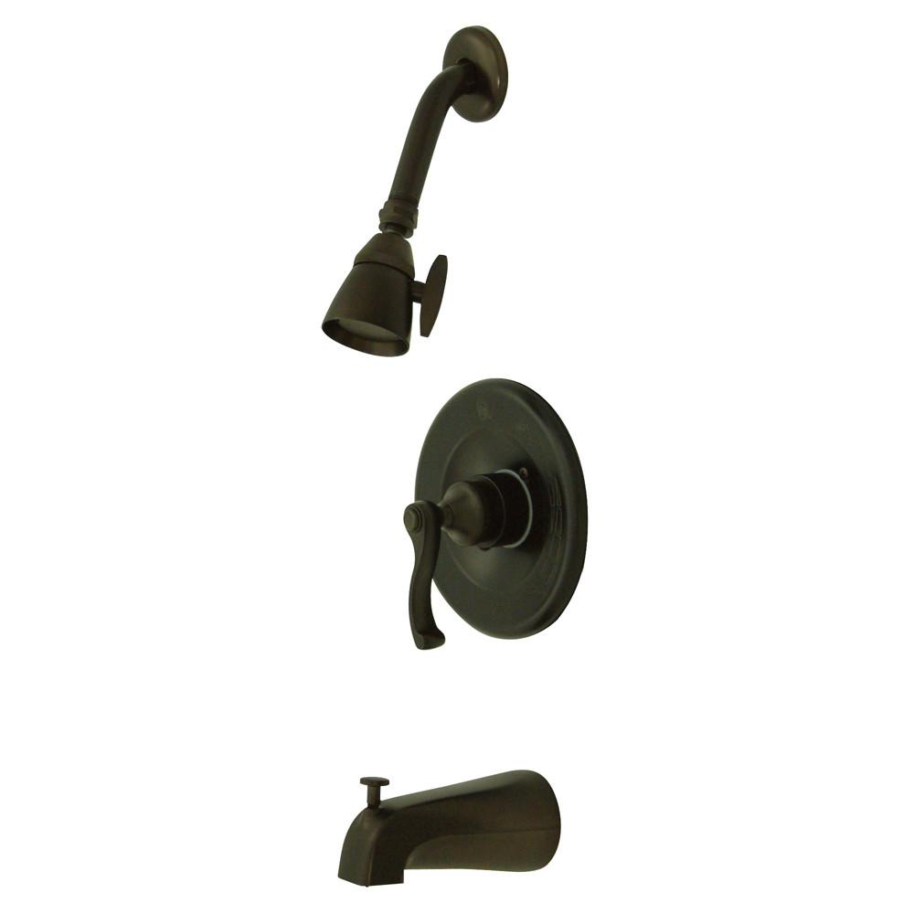 Kingston Oil Rubbed Bronze Single Handle Tub and Shower Combo Faucet KB8635FL