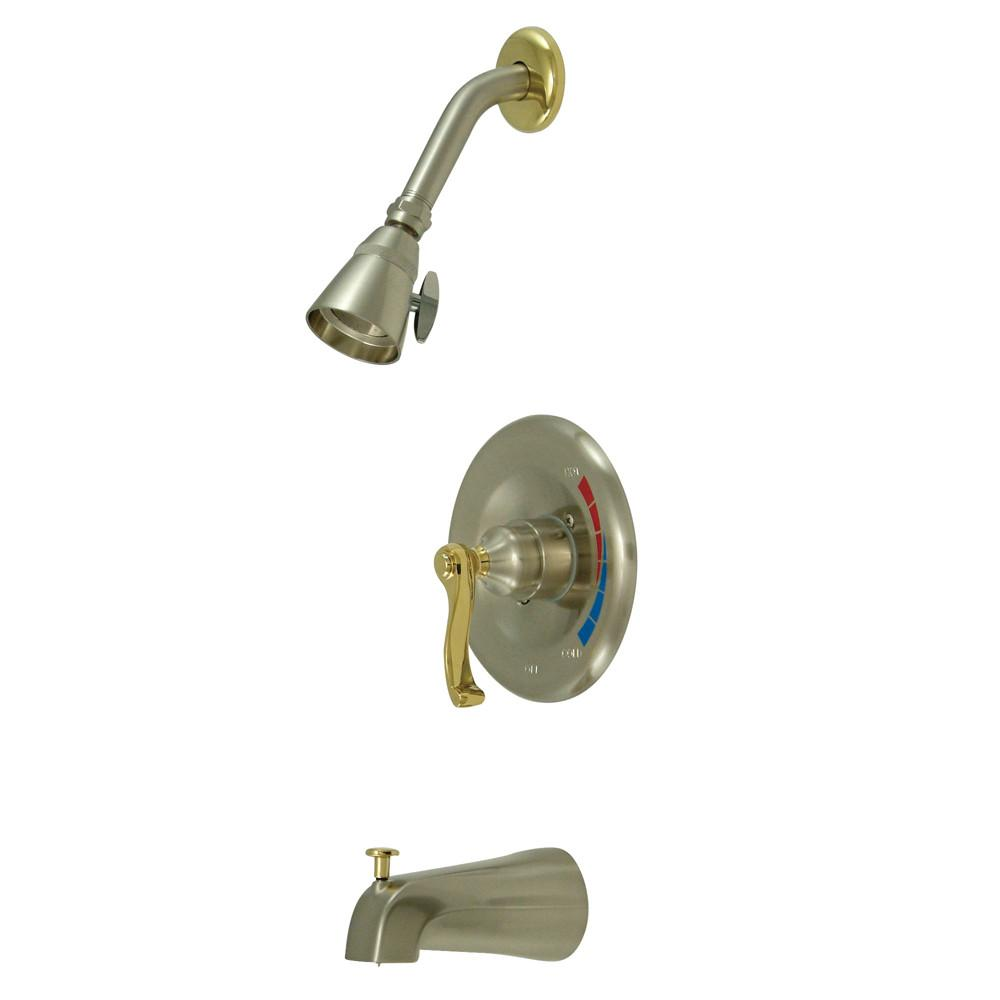 Kingston Satin Nickel/Polished Brass 1 Handle Tub & Shower Combo Faucet KB8639FL