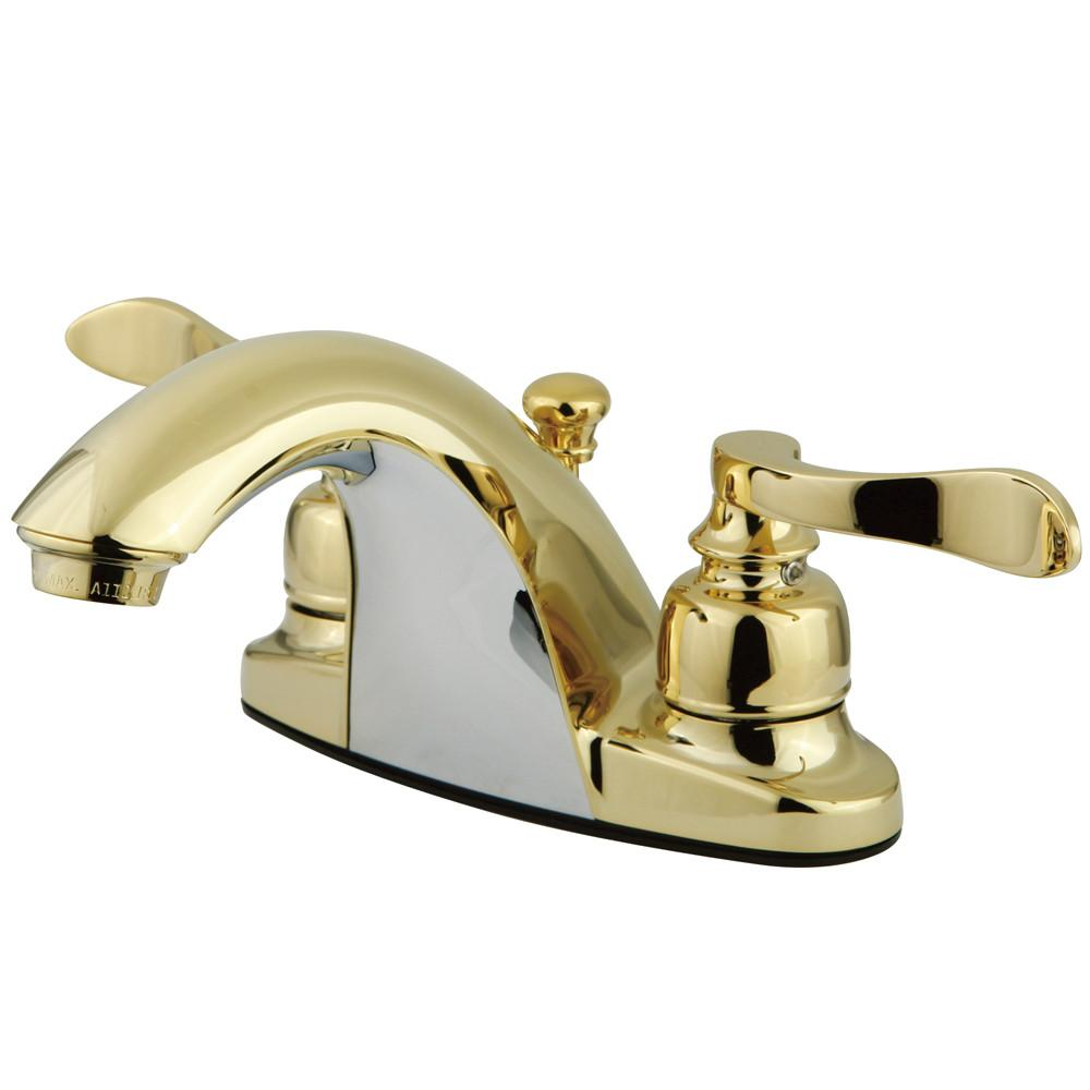 Kingston Polished Brass NuWave French centerset bathroom faucet KB8642NFL