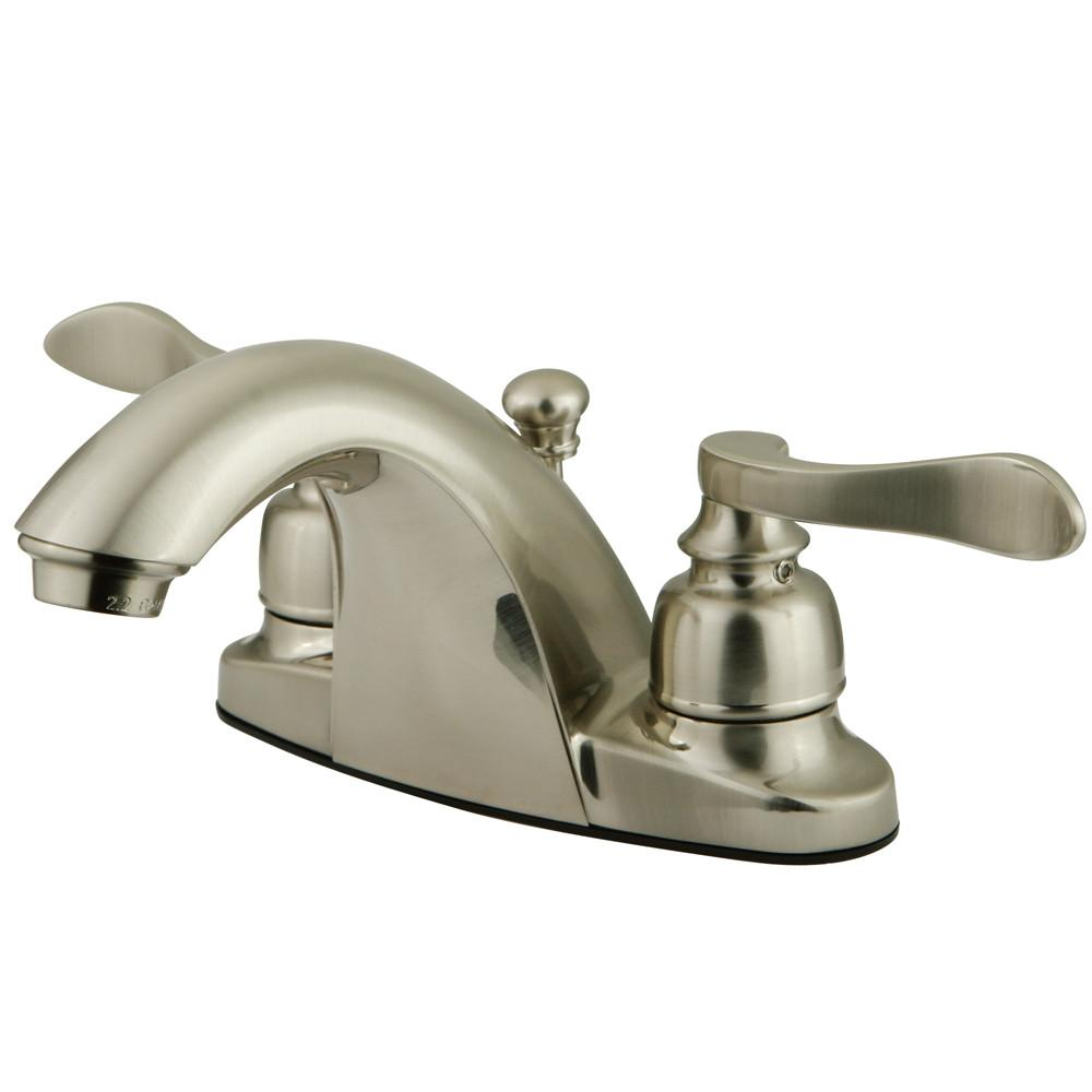 Kingston Brass Satin Nickel NuWave French centerset bathroom faucet KB8648NFL