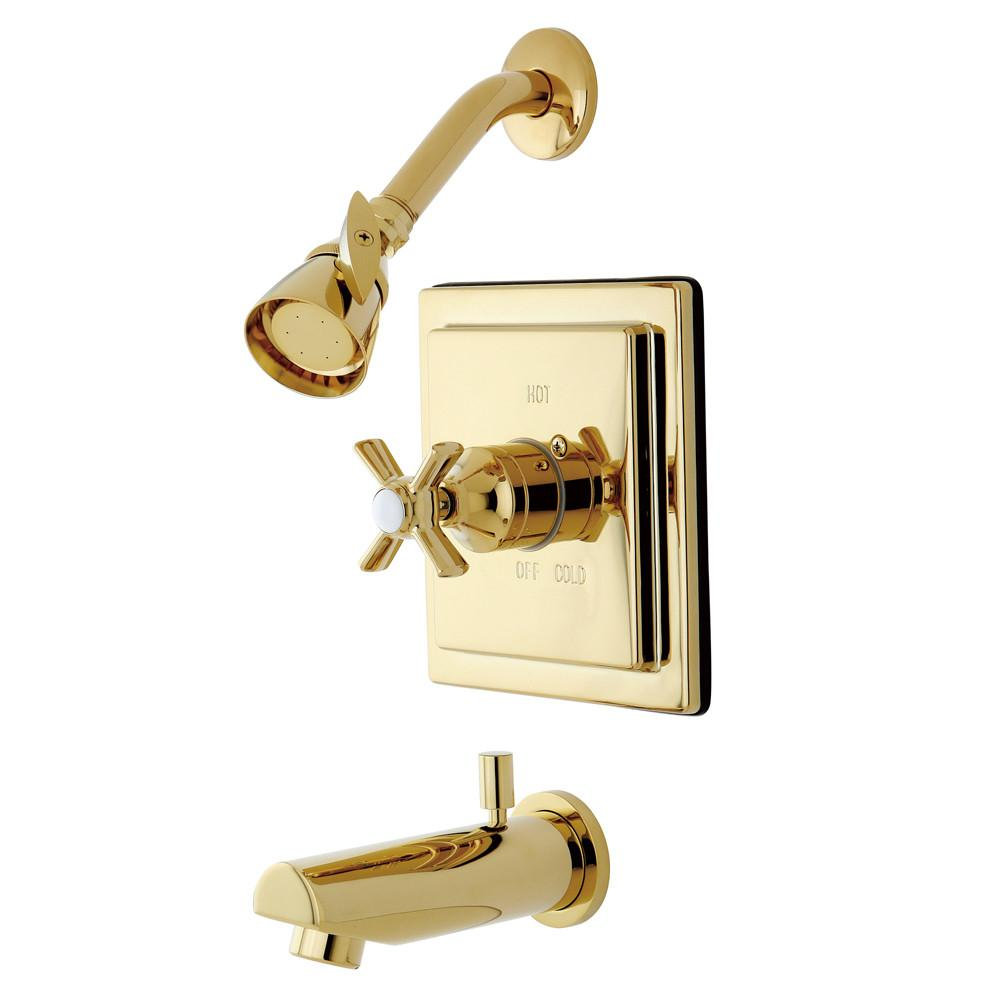 Kingston Brass KB8652ZX Tub and Shower Combination Faucet Polished Brass