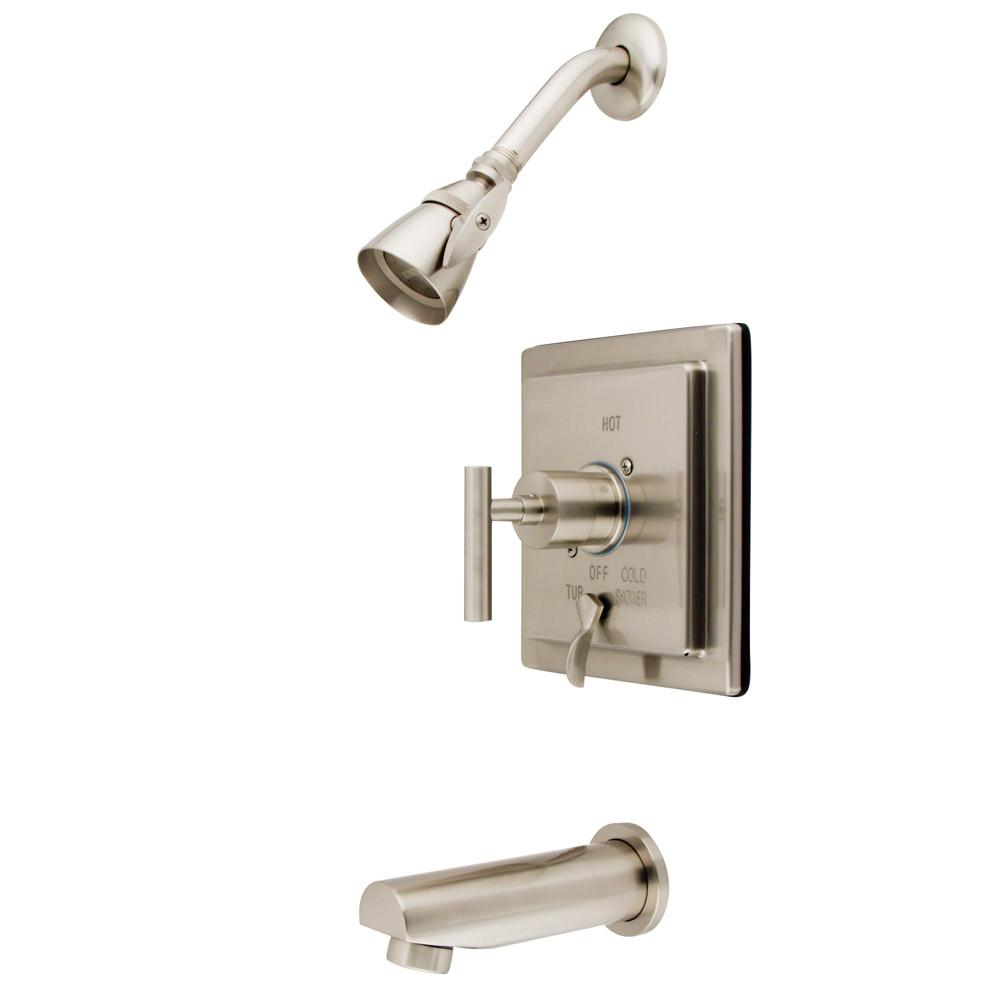 Kingston Brass Satin Nickel Manhattan tub & shower faucet combination KB86580CML