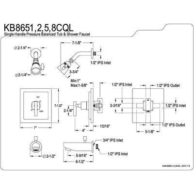 Kingston Brass Claremont Satin Nickel Tub & Shower Combination Faucet KB8658CQL