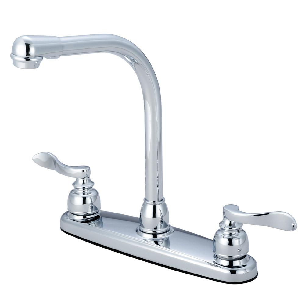 "Kingston Chrome NuWave French 8"" centerset 2 handle kitchen faucet KB8751NFLLS"