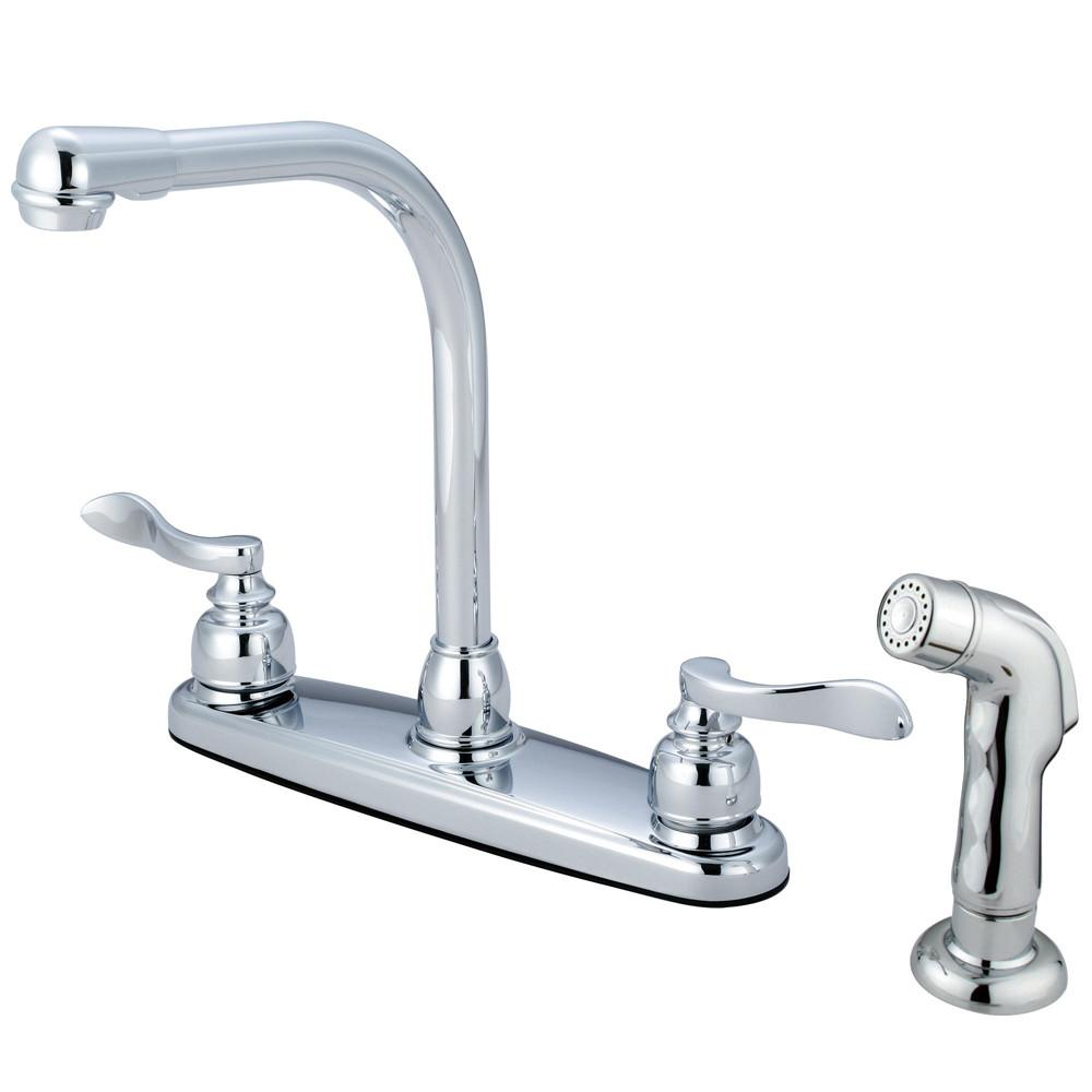Kingston Chrome 2 Handle Centerset High-Arch Kitchen Faucet w Spray KB8751NFLSP