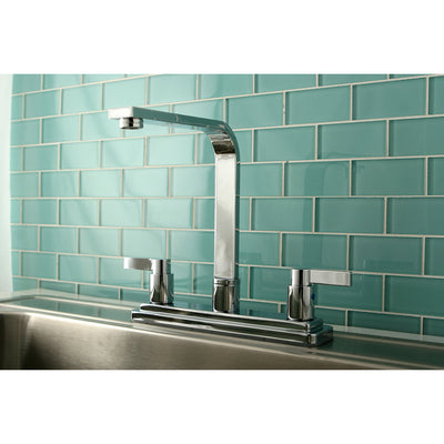 Kingston Brass Chrome Double Handle High Rise Spout Kitchen Faucet KB8791NDLLS