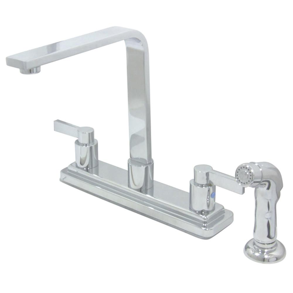 Kingston Brass Chrome NuvoFusion Kitchen Faucet w/Side Spray KB8791NDLSP