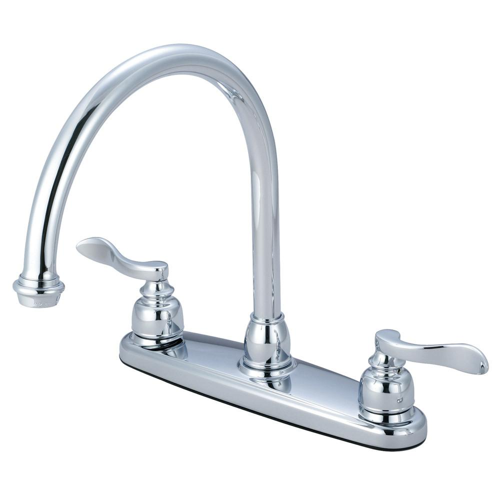 "Kingston Chrome NuWave French 8"" centerset 2 handle kitchen faucet KB8791NFLLS"