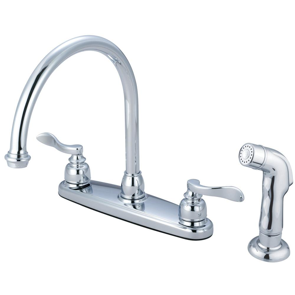"Kingston Chrome 2 Handle 8"" Centerset Kitchen Faucet w Sprayer KB8791NFLSP"