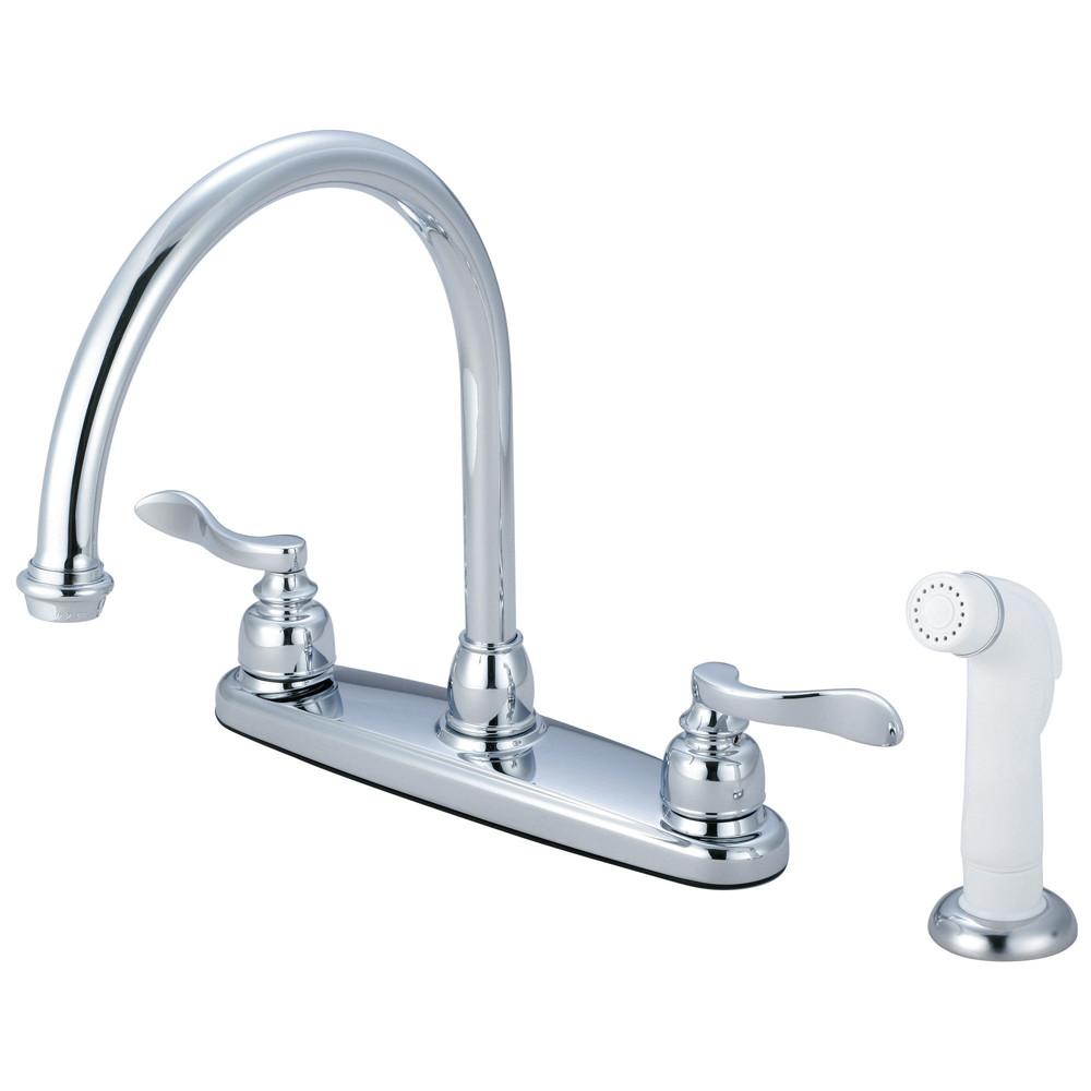 "Kingston Chrome NuWave French 8"" centerset kitchen faucet w/ sprayer KB8791NFL"
