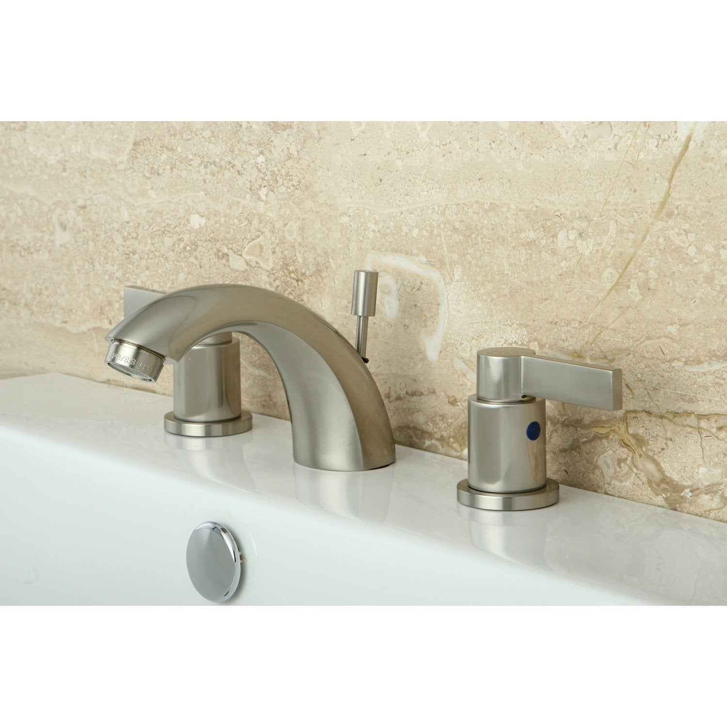 Satin Nickel NuvoFusion Mini Widespread bathroom Faucet w/Pop-Up KB8958NDL