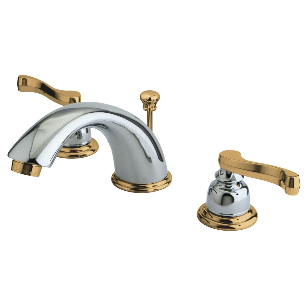 Kingston Chrome/Polished Brass Widespread Bathroom Faucet w Pop-up KB8964FL