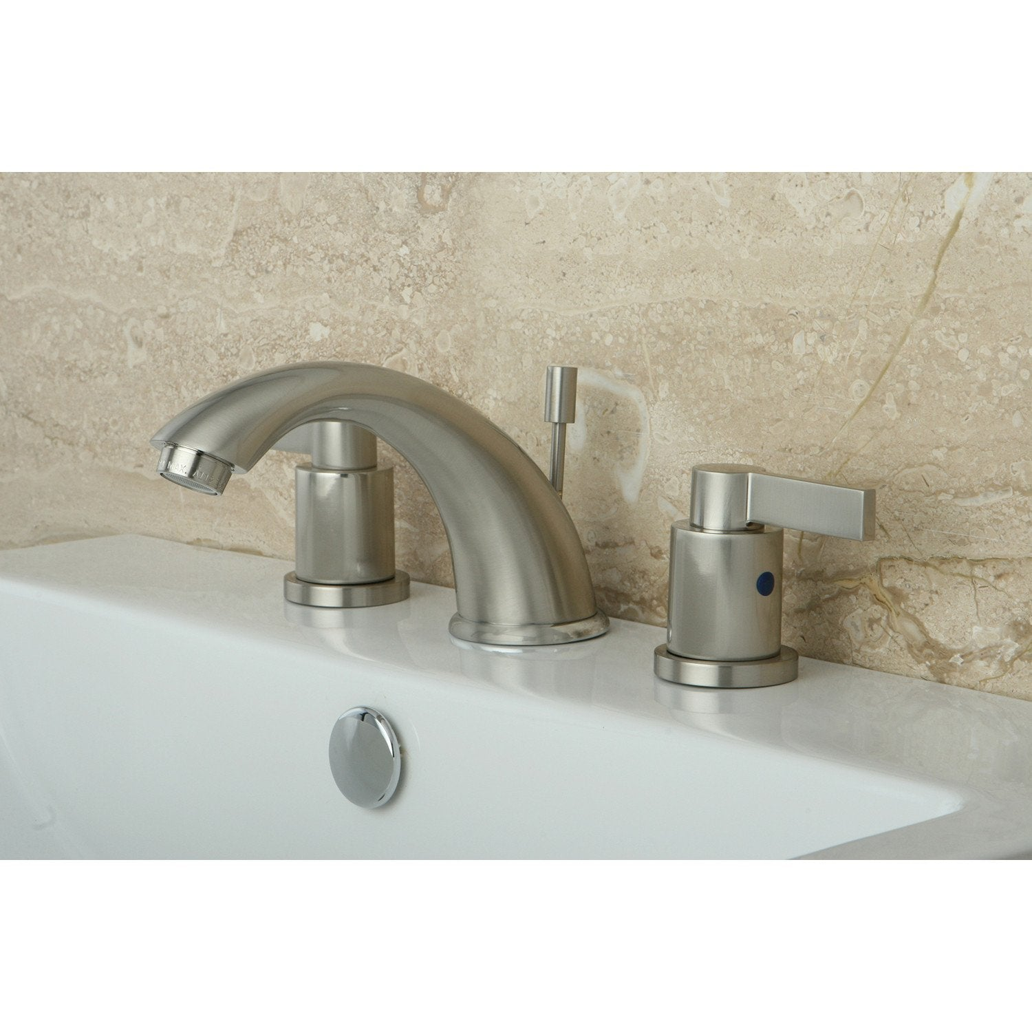 Kingston Satin Nickel NuvoFusion C Spout Widespread bathroom Faucet KB8968NDL