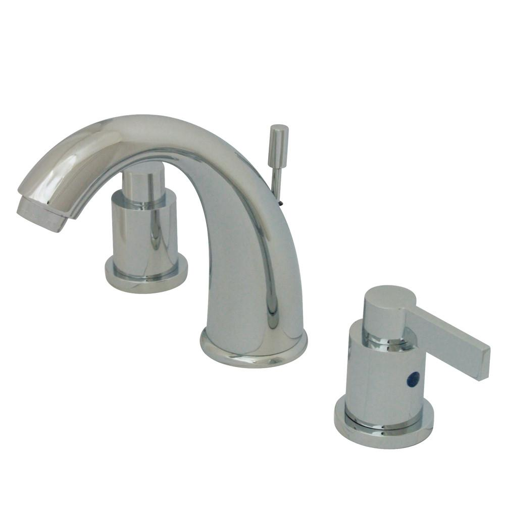 Kingston Chrome NuvoFusion Goose Neck Spout Widespread bathroom Faucet KB8981NDL