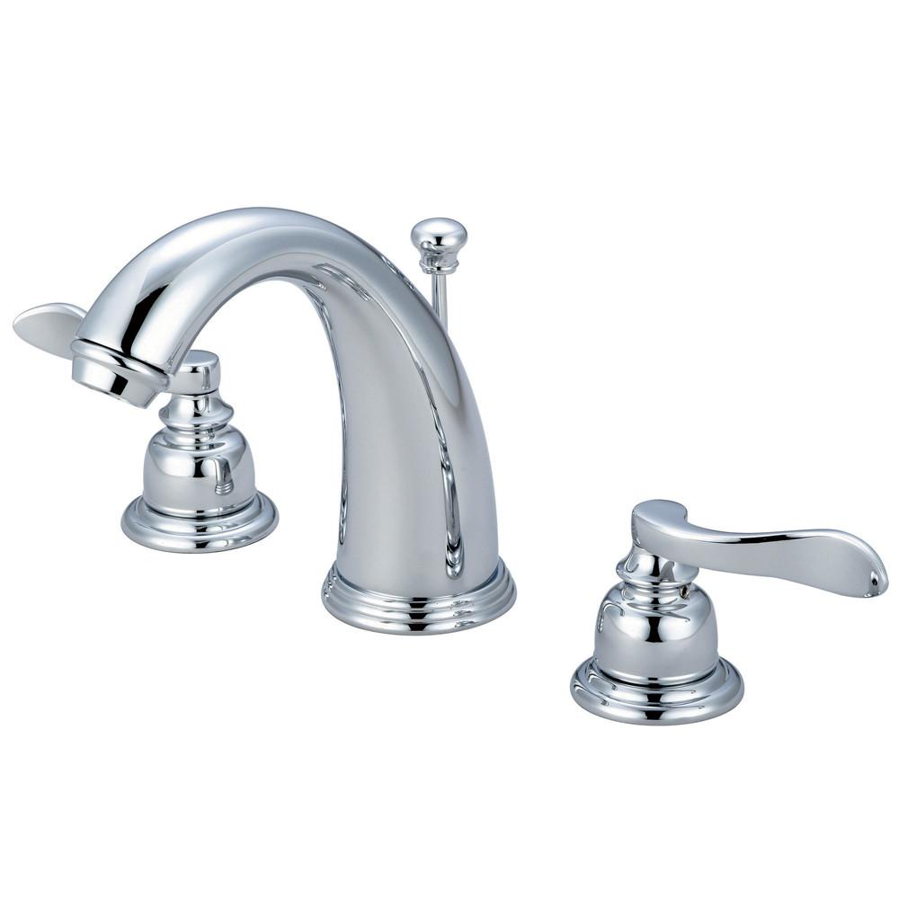 Kingston Chrome NuWave French widespread bathroom faucet w/ pop-up KB8981NFL