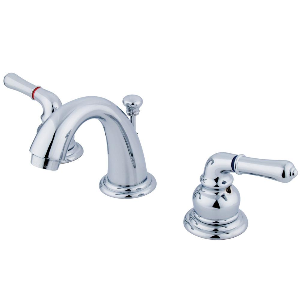 Kingston Chrome Magellan 2 handle widespread bathroom faucet w/pop-up KB911