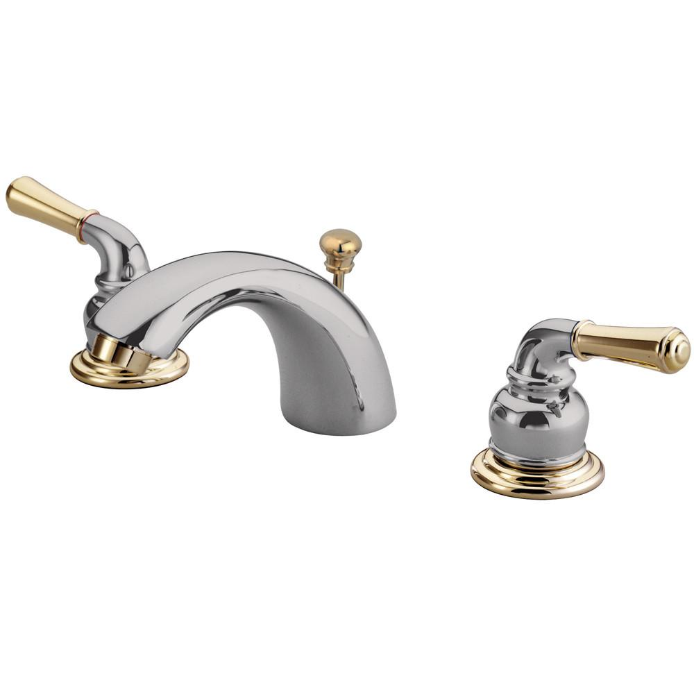 "Kingston Brass Chrome/Polished Brass 4""-8"" Mini Widespread Bathroom Faucet KB954"