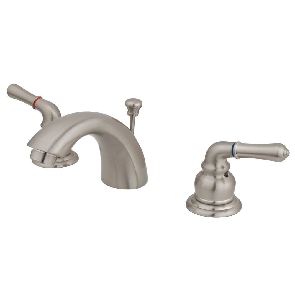 "Kingston Brass Satin Nickel 4""-8"" Mini Widespread Bathroom Faucet w Pop-up KB958"