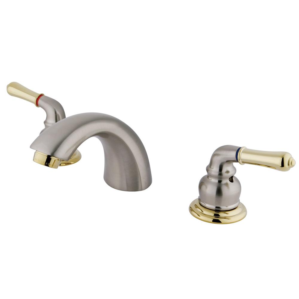 Kingston Satin Nickel/Polished Brass Mini Widespread Bathroom Faucet KB959LP