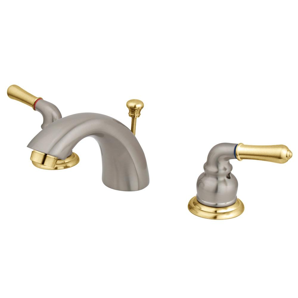 "Kingston Satin Nickel/Polished Brass 4""-8"" Mini Widespread Bathroom Faucet KB959"