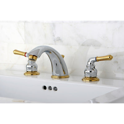 "Kingston Brass Chrome/Polished Brass 8""-16"" Widespread Bathroom Faucet KB964"