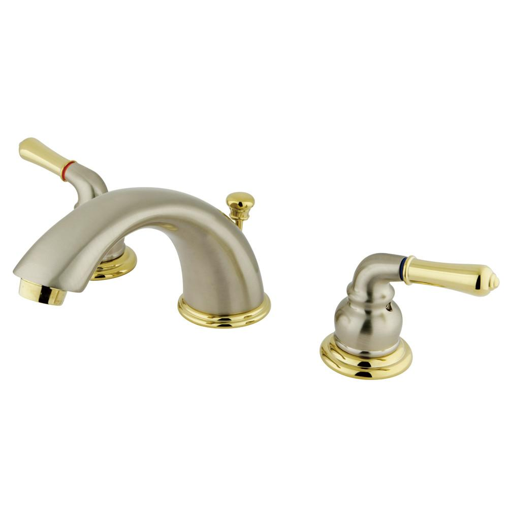 "Kingston Satin Nickel/Polished Brass 8""-16"" Widespread Bathroom Faucet KB969"