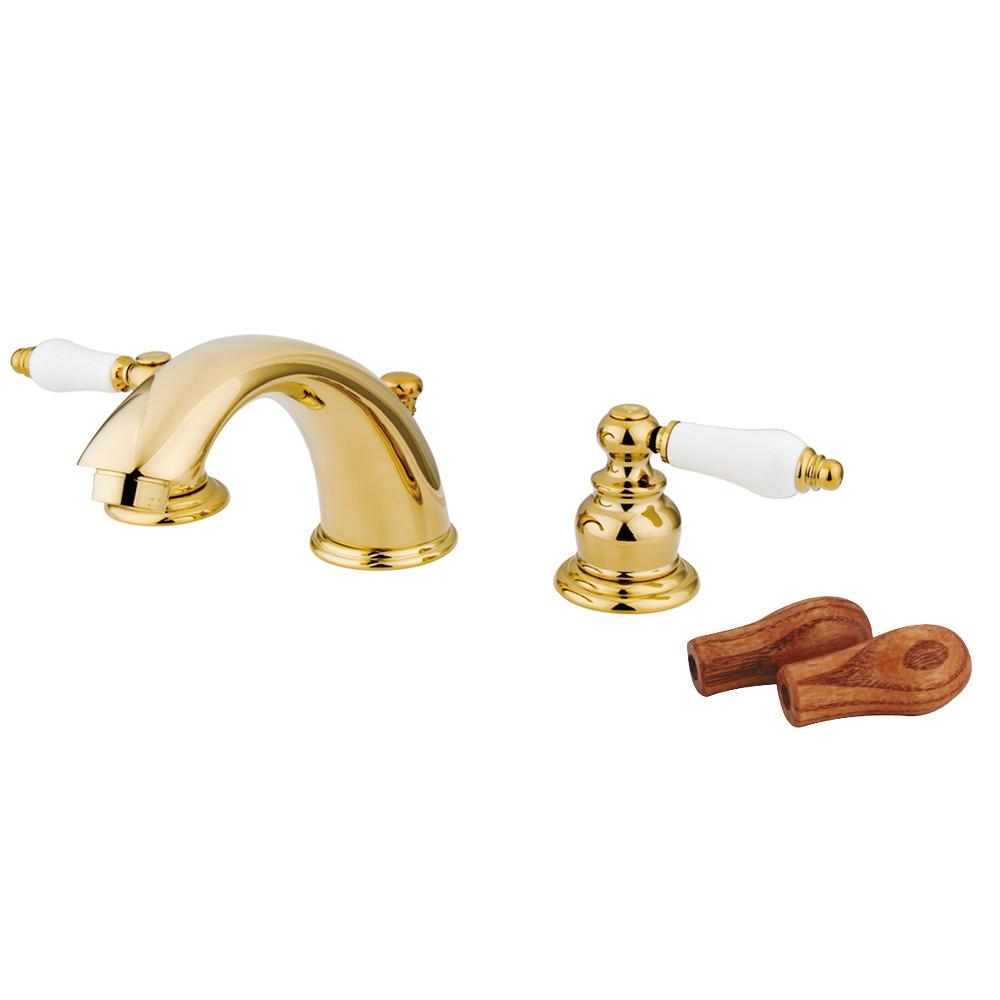 Kingston Polished Brass 2 Handle Widespread Bathroom Faucet w Pop-up KB972B