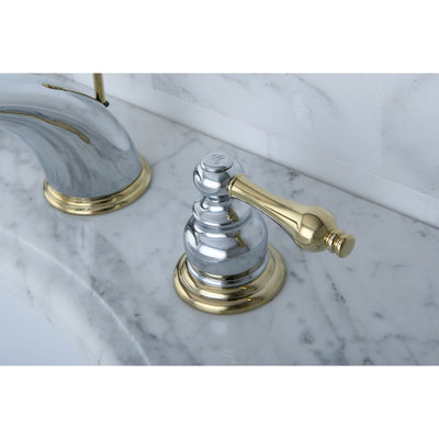 Kingston Chrome / Polished Brass Widespread Bathroom Faucet w Pop-up KB974AL