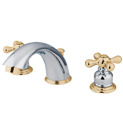 Kingston Chrome / Polished Brass Widespread Bathroom Faucet w Pop-up KB974X