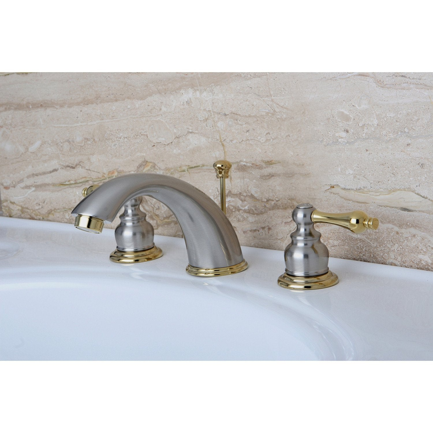 Kingston Satin Nickel / Polished Brass 2 Hdl Widespread Bathroom Faucet KB979AL