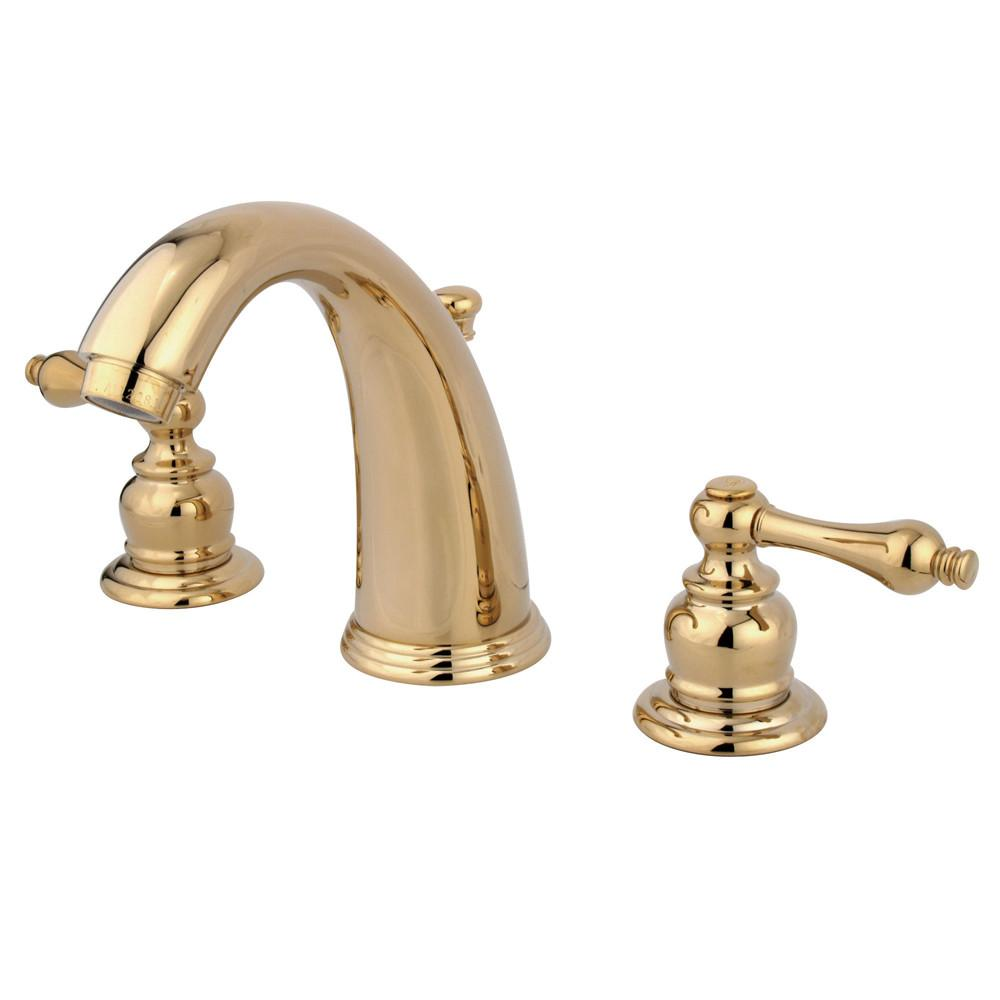 Kingston Polished Brass 2 Handle Widespread Bathroom Faucet w Pop-up KB982AL