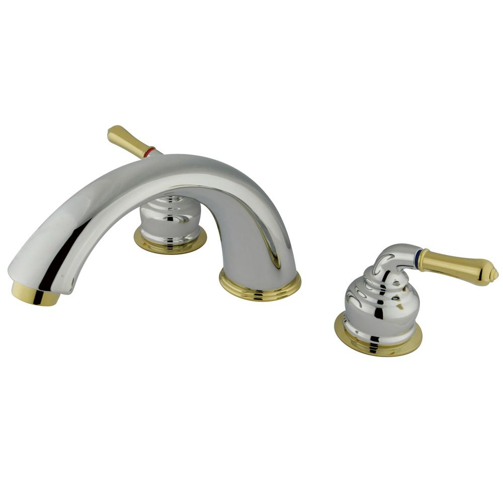Kingston Brass Chrome/Polished Brass Magellan roman tub filler faucet KC364