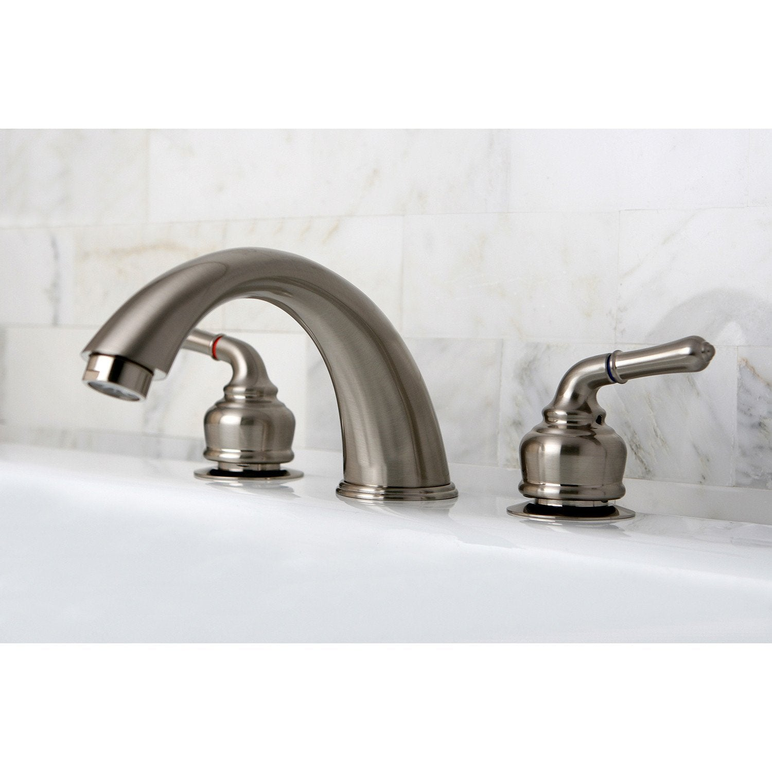 Kingston Brass Satin Nickel Magellan lever handle roman tub filler faucet KC368