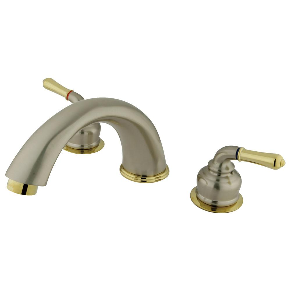 Kingston Satin Nickel/Polished Brass Magellan roman tub filler faucet KC369