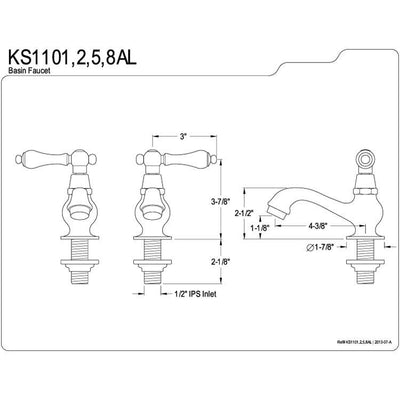 Kingston Brass Chrome Basin Sink Vintage Style Bathroom Faucet KS1101AL
