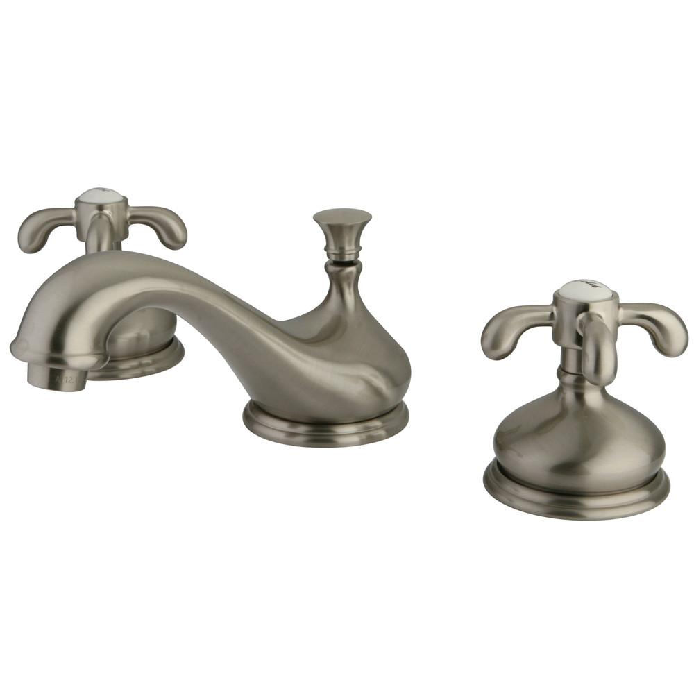 Kingston Brass Satin Nickel French Country Widespread Bathroom Faucet KS1168TX