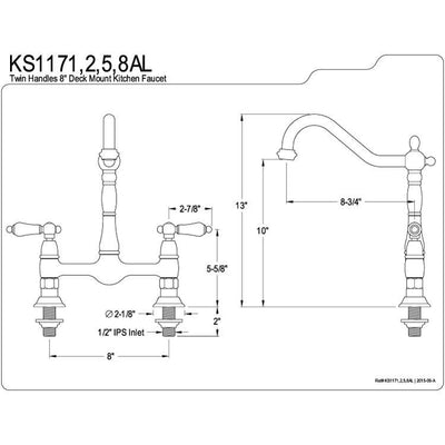 "Kingston Brass Chrome Double Handle 8"" Centerset Bridge Kitchen Faucet KS1171AL"