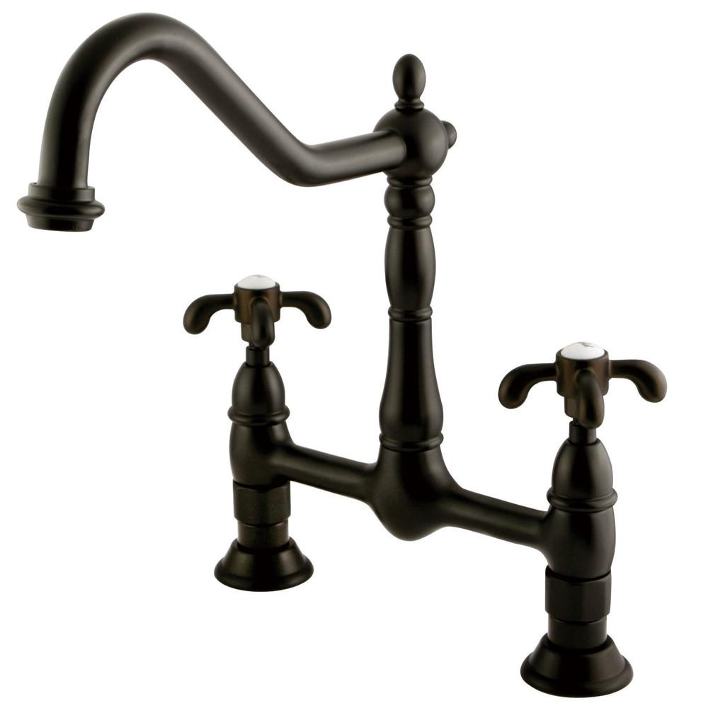 "Kingston Oil Rubbed Bronze French Country 8"" Centerset Kitchen Faucet KS1175TX"
