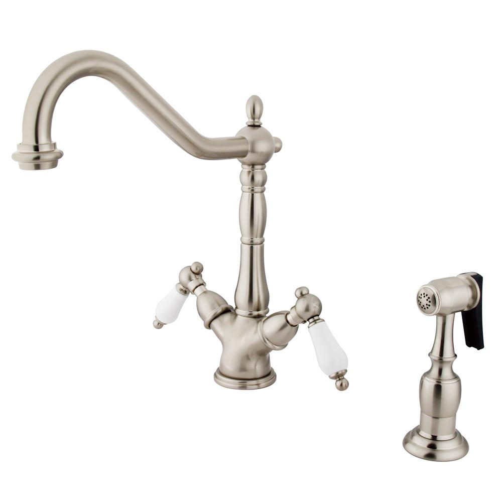 Kingston Satin Nickel 2 Handle Single Hole Kitchen Faucet W Spray