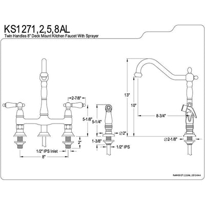 "Kingston Polished Brass 8"" Centerset Kitchen Faucet With Side Sprayer KS1272AL"