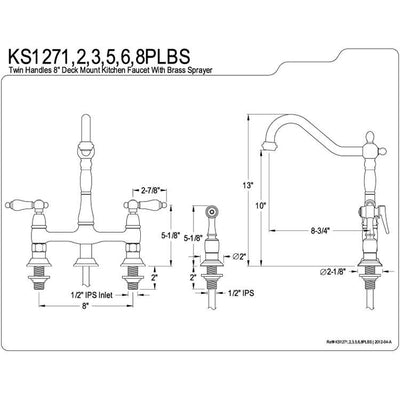 "Kingston Polished Brass 8"" Centerset Kitchen Faucet With Side Sprayer KS1272PLBS"