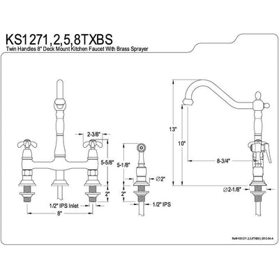 "Kingston Polished Brass 8"" Centerset Kitchen Faucet w/ Brass Sprayer KS1272TXBS"