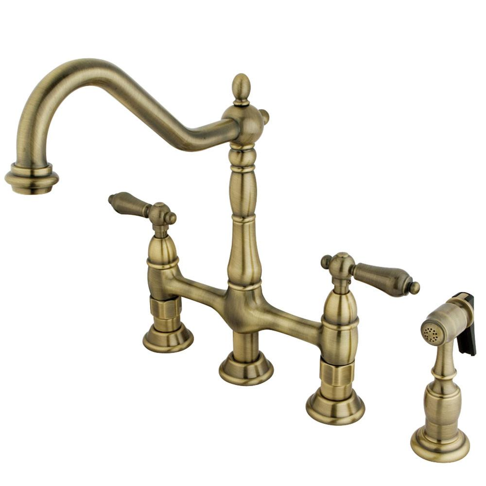 "Kingston Vintage Brass 8"" Centerset Kitchen Faucet With Side Sprayer KS1273ALBS"